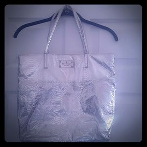 Kate Spade Silver Leather Tote